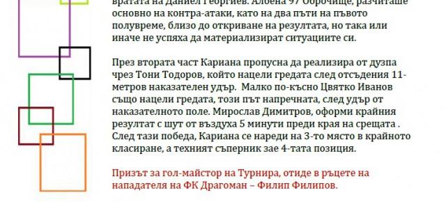 КАРИАНА (ЕРДЕН) 3-ТИ В ТУРНИРА НА СОНИК СТАРТ